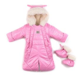 """Детский зимний комбинезон-трансформер на овчине 2в1 """"Нежно-розовый"""""""