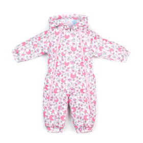 """Детский демисезонный комбинезон """"Крошка, розовый принт"""" для новорожденных с пинетками"""