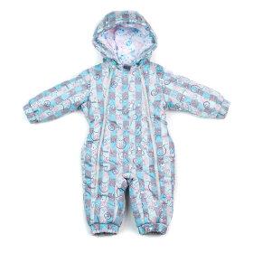 """Детский демисезонный комбинезон """"Крошка, голубой"""" для новорожденных с пинетками"""